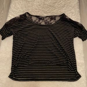 stripped tee with lace detail